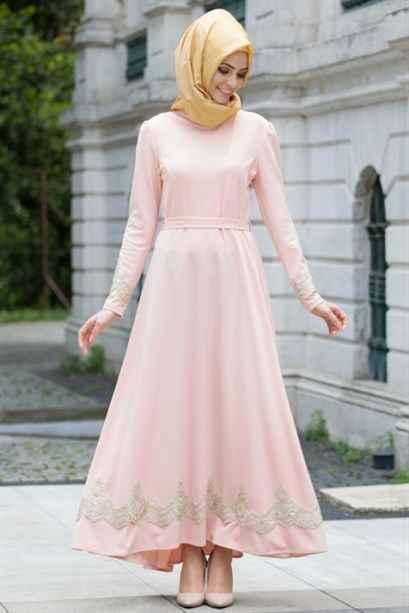 Pudra Tesettür Güpürlü Elbise Modelleri