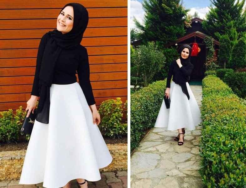 Siyah Beyaz Tesettür Yaz Modası