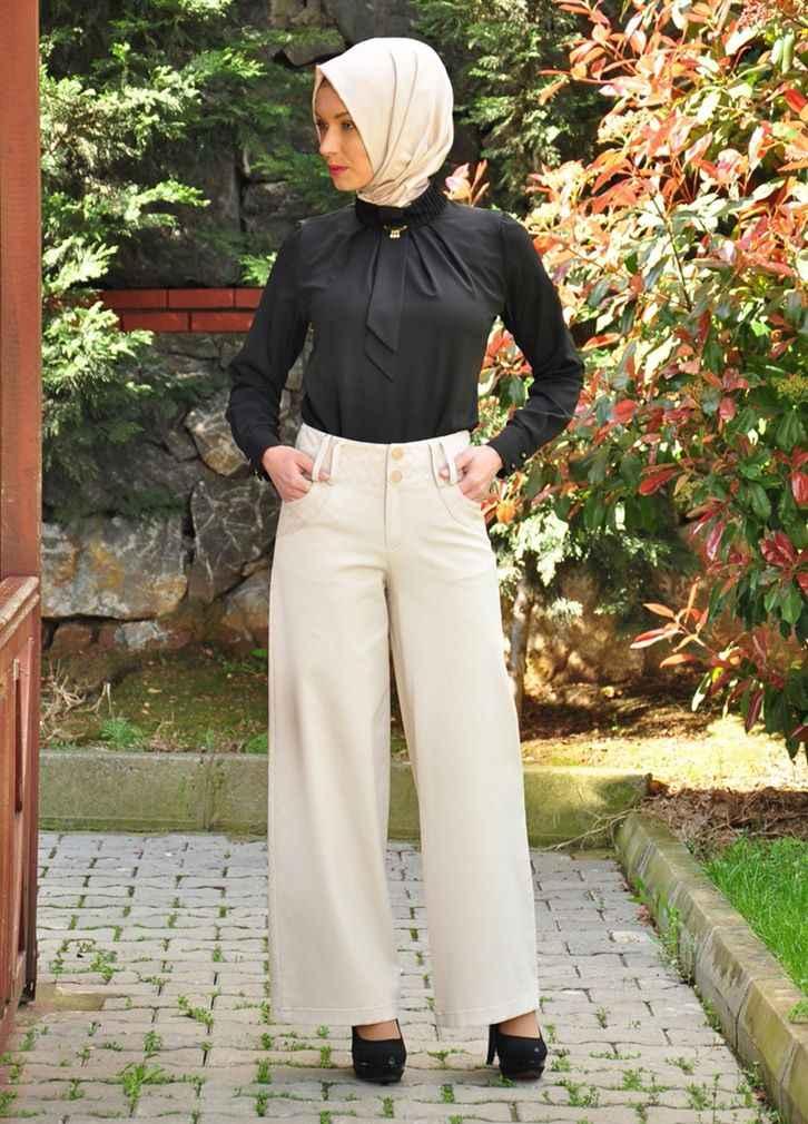 Tesettür Kumaş Pantolon Modelleri