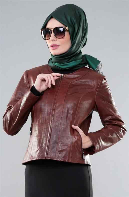 33f51b3cd5f6c Yeni Sezon Tesettür Deri Ceket Modelleri - Moda Tesettür Giyim
