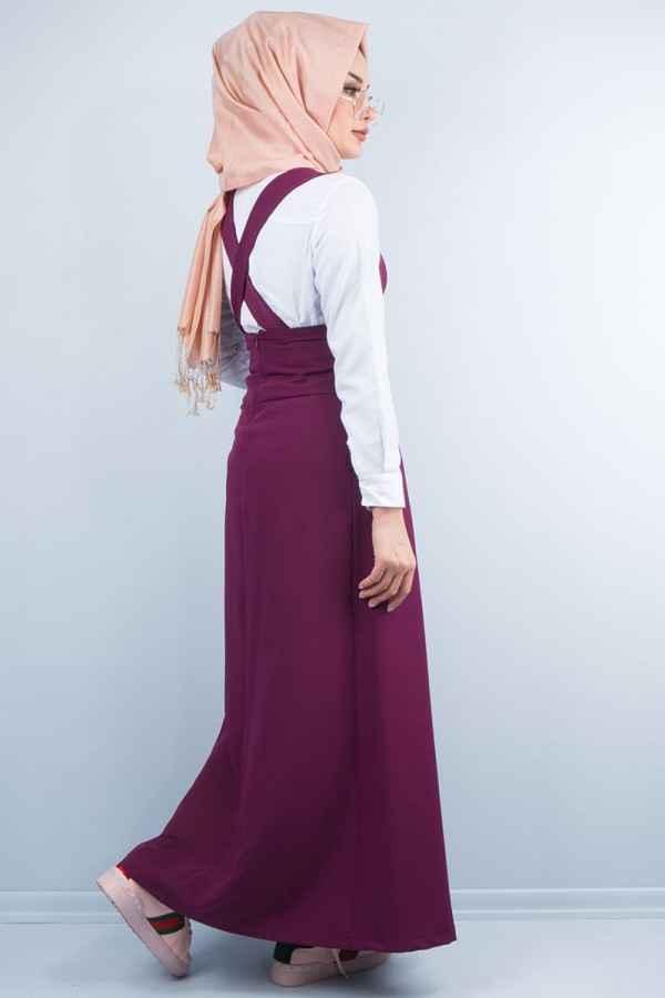 Bordo Tesettür Bahçıvan Elbise Modelleri