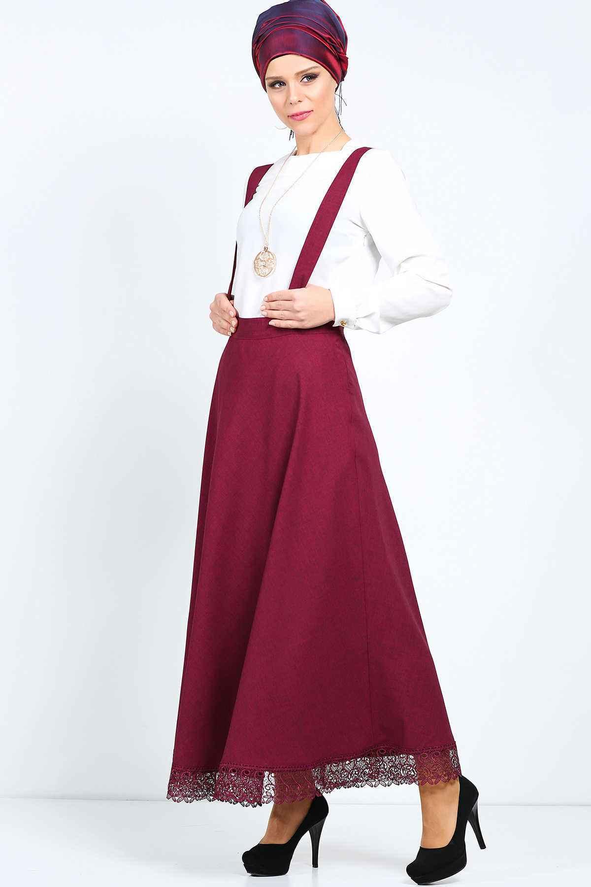 Dantelli Tesettür Bahçıvan Elbise Modelleri