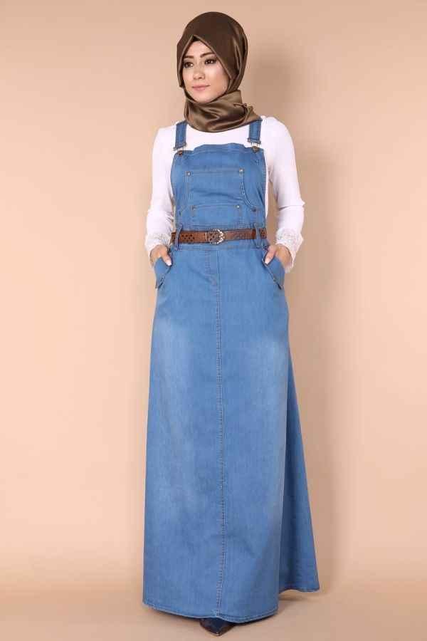 Kemerli Kot Tesettür Bahçıvan Elbise Modelleri