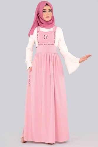 Pembe Tesettür Bahçıvan Elbise Modelleri