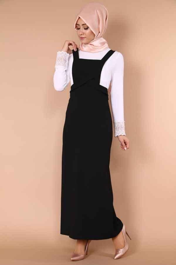 Siyah Tesettür Bahçıvan Elbise Modelleri