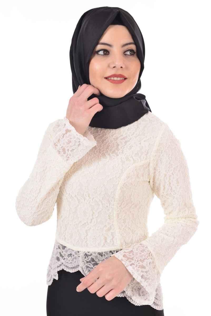 Beyaz Tesettür Dantelli Gömlek Bluz Modelleri