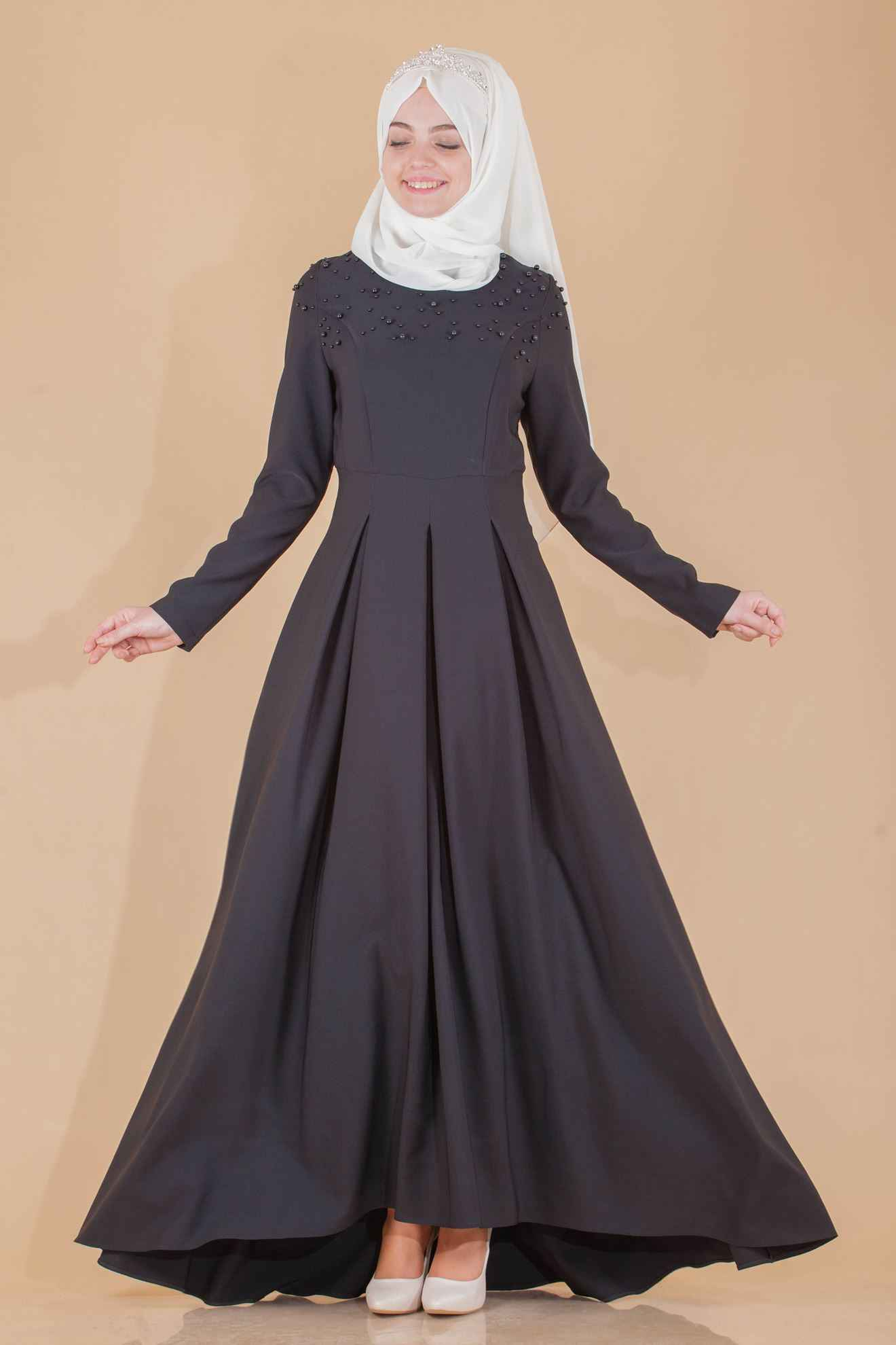 İnci Detaylı Siyah Tesettür Kuyruklu Elbise Modelleri
