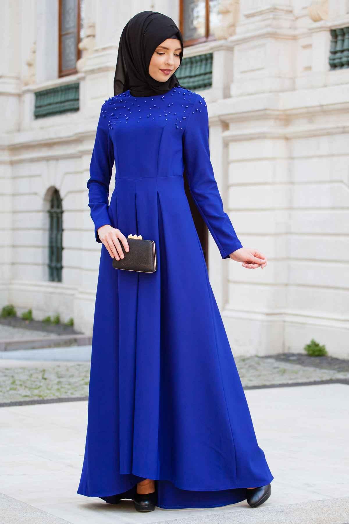 İnci Detaylı Tesettür Kuyruklu Elbise Modelleri