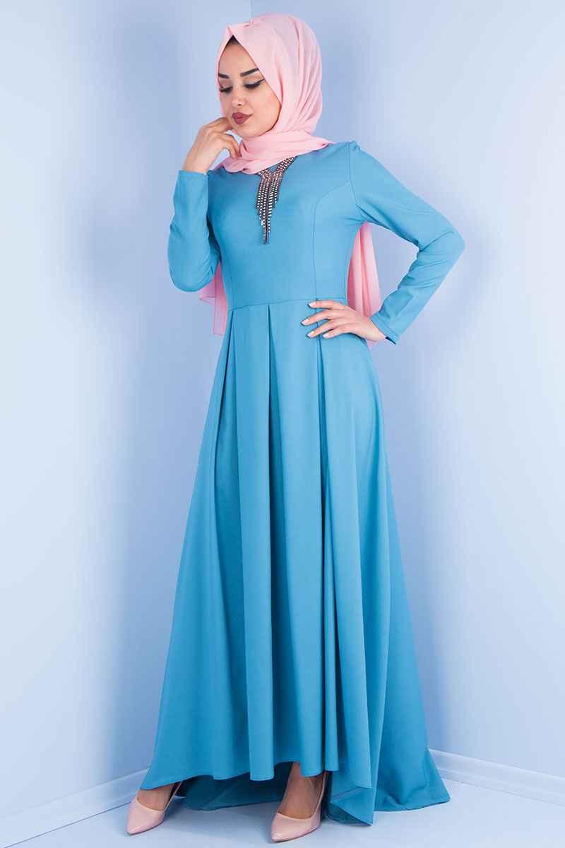 Mavi Tesettür Kuyruklu Elbise Modelleri