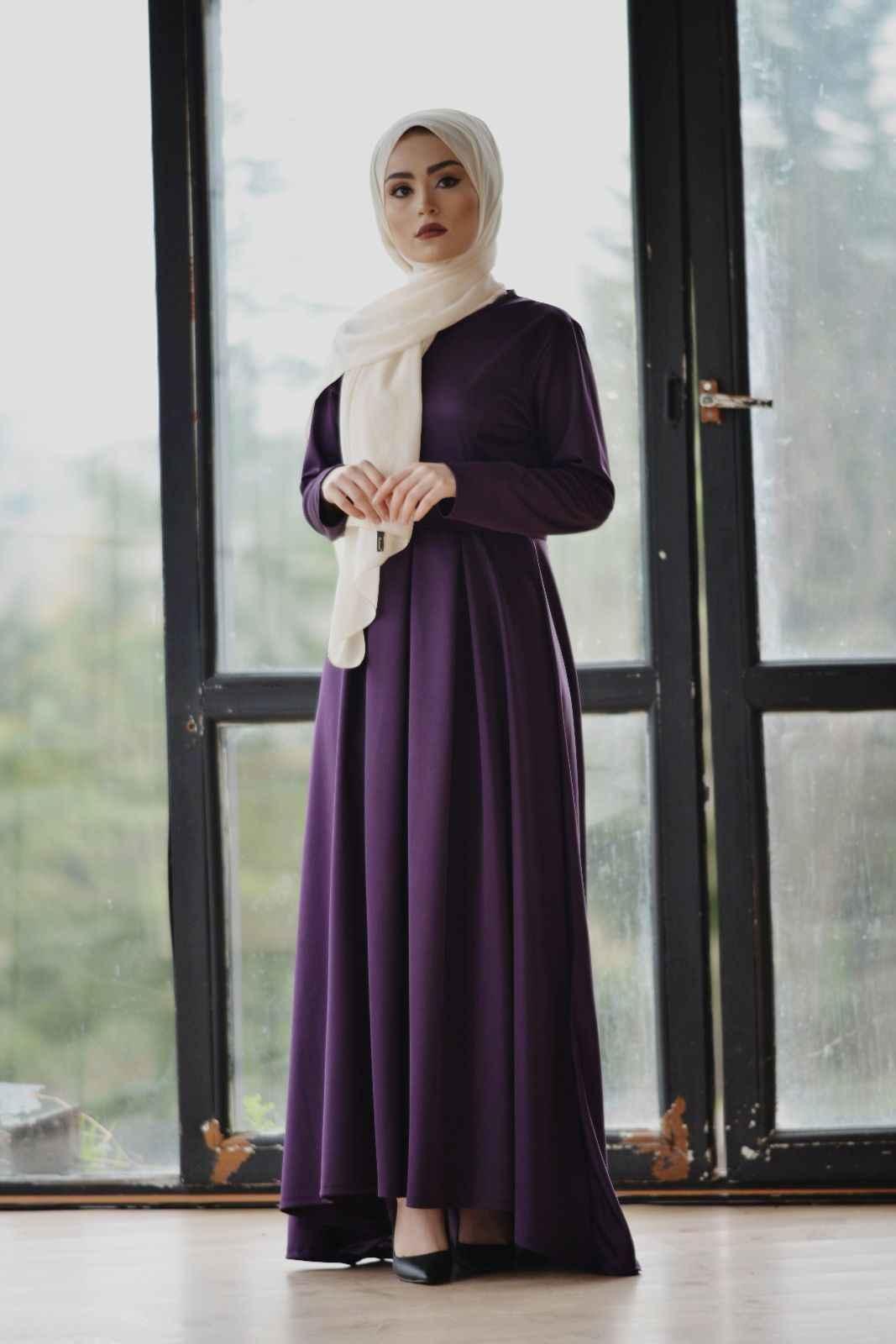 Modern Tesettür Kuyruklu Elbise Modelleri