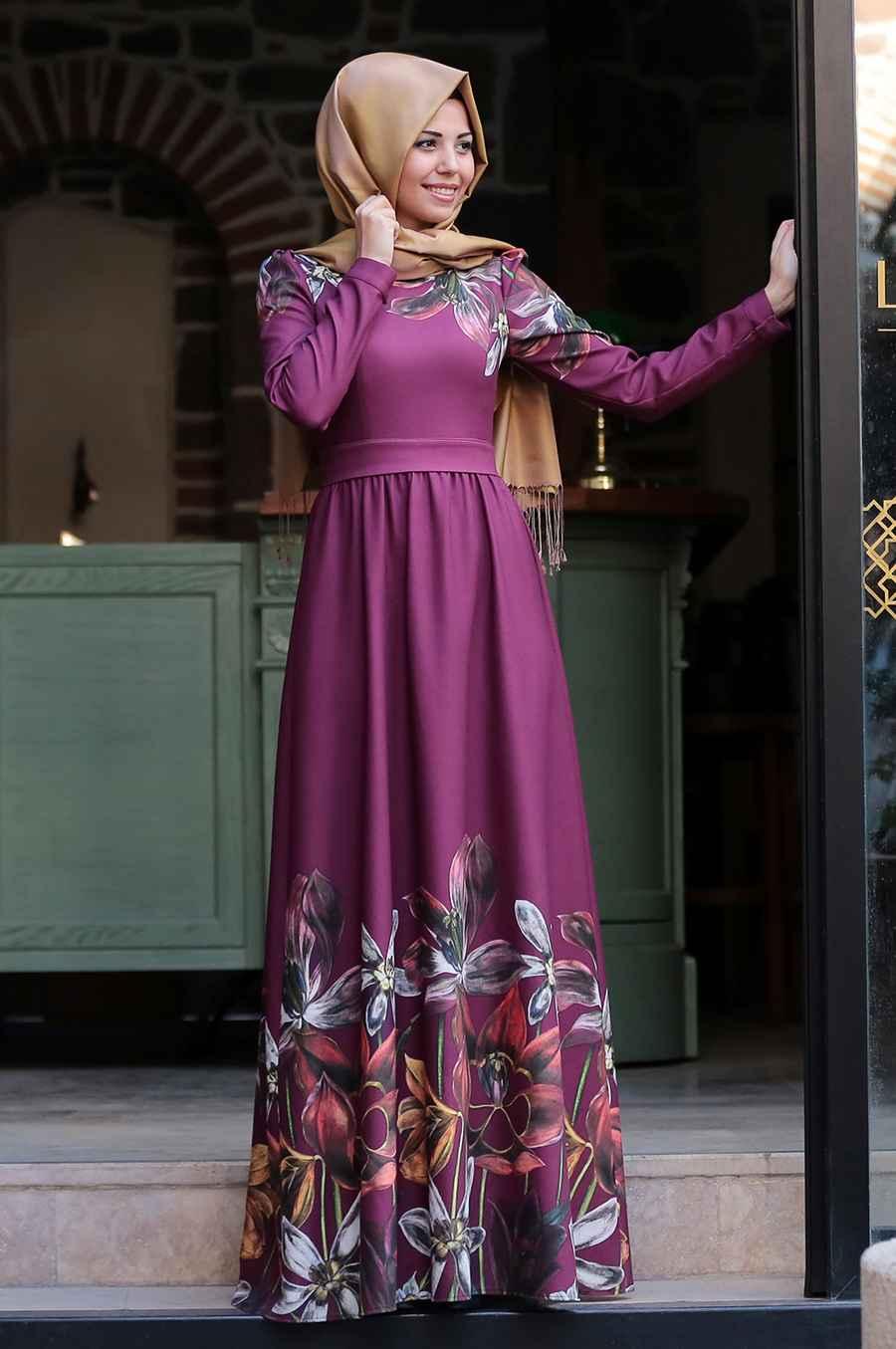 Tesettür Giyimde Zarif Elbise Modelleri