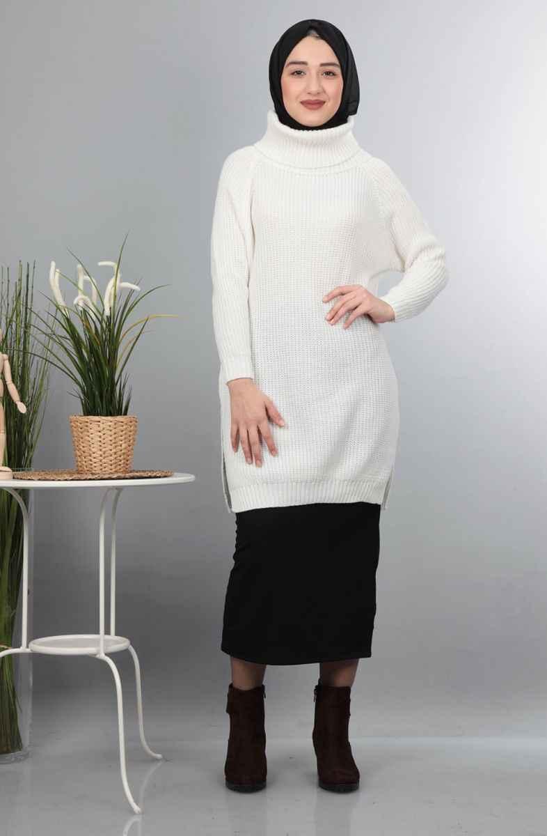 Boğazlı Tesettür Triko Tunik Modelleri