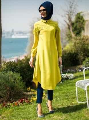 En Şık Tesettür Güpürlü Tunik Modelleri