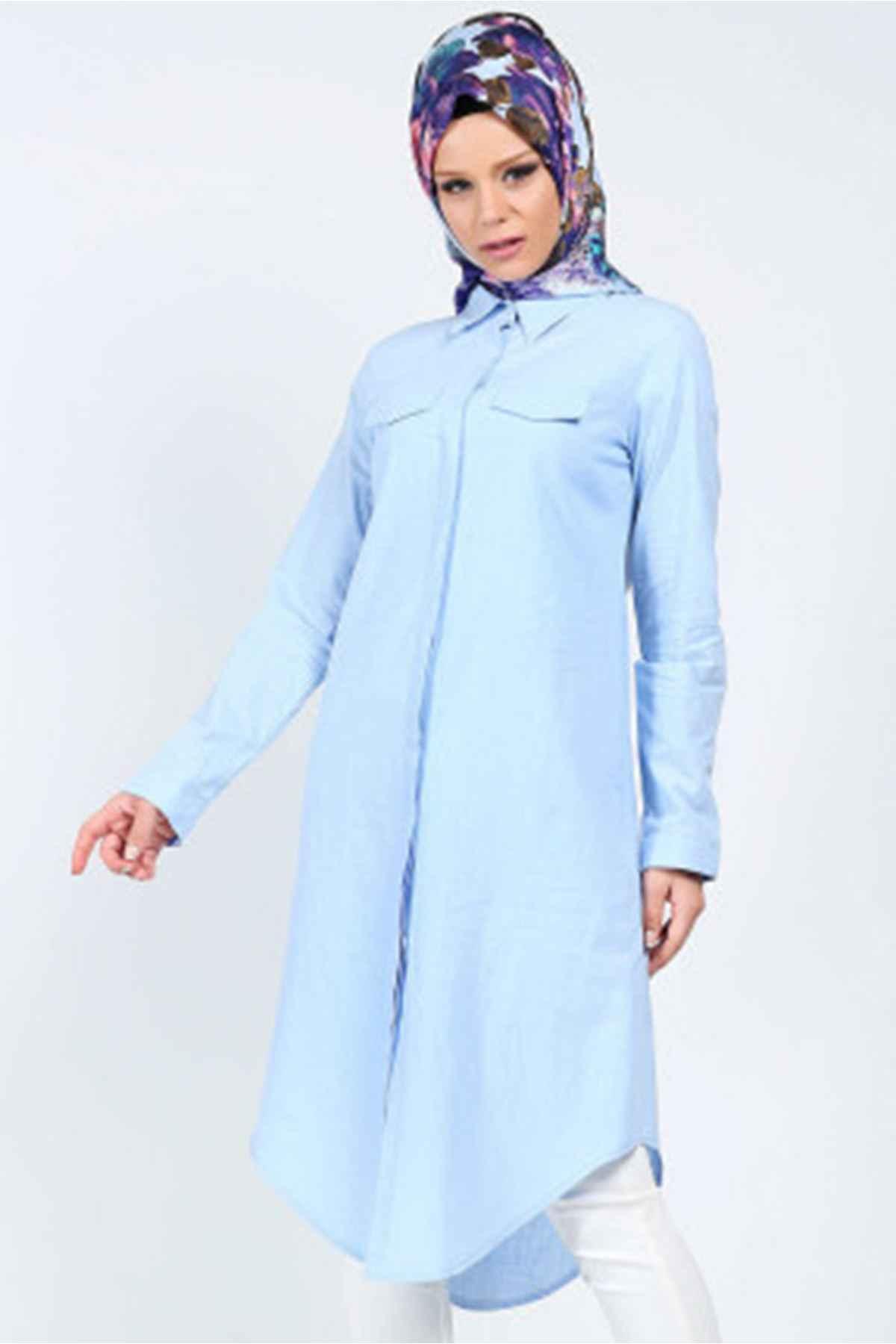 Mavi Tesettür Tunik Gömlek Modelleri
