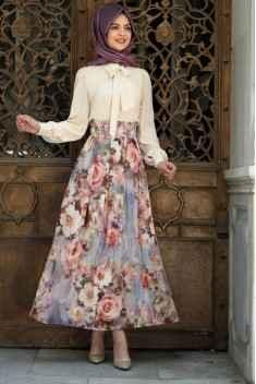 Pınar Şems Şık Tesettür Çiçekli Etek Modelleri