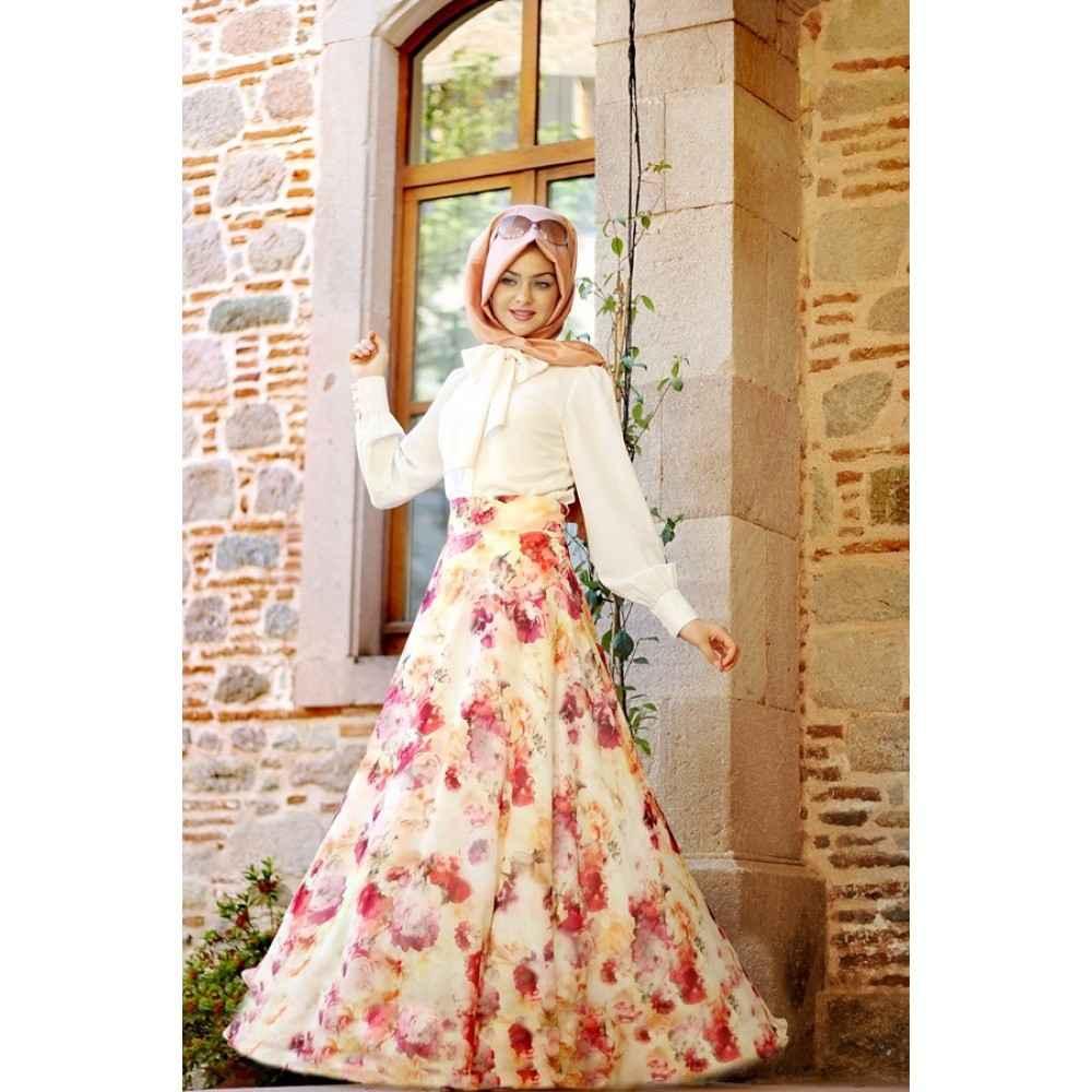 Pınar Şems Tesettür Çiçekli Etek Modelleri
