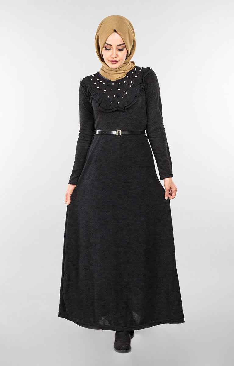 İnci Detaylı Tesettür Triko Elbise Modelleri