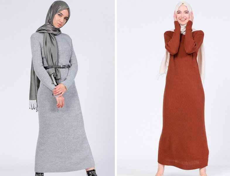 2017 Tesettür Triko Elbise Modelleri