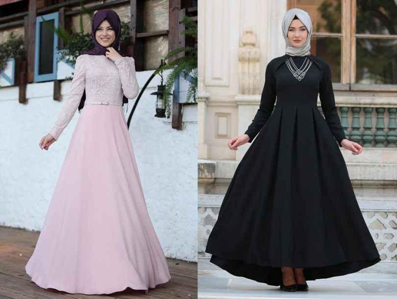 2018 Şık Tesettür Elbise Modelleri
