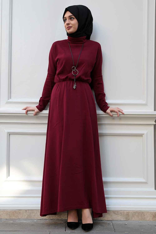 En Şık Tesettür Triko Elbise Modelleri