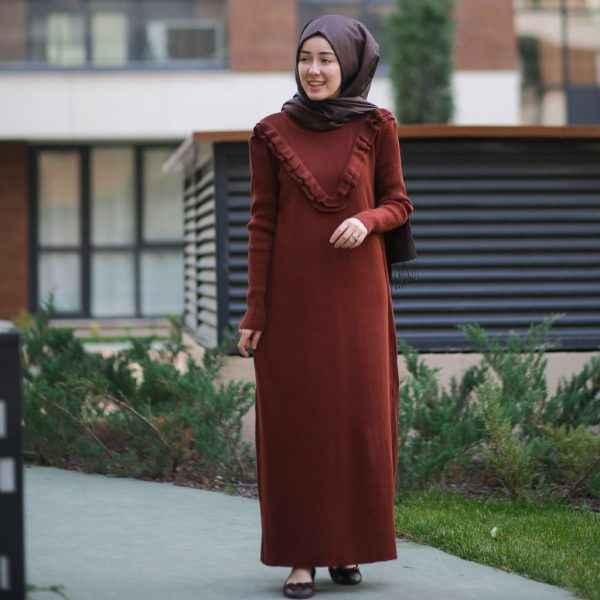 Fırfırlı Tesettür Triko Elbise Modelleri