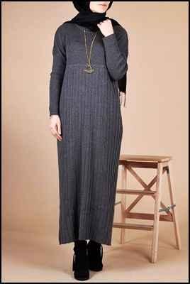 Modern Tesettür Triko Elbise Modelleri