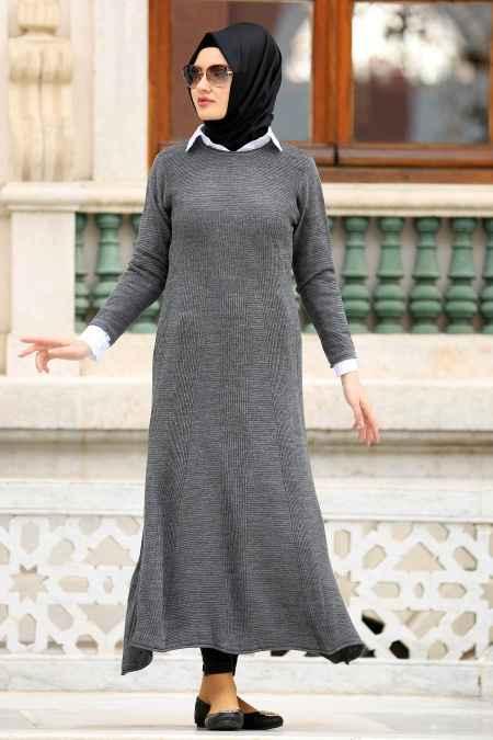 Neva Style Füme Tesettür Triko Elbise Modelleri