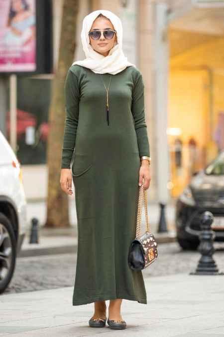 Neva Style Haki Tesettür Triko Elbise Modelleri