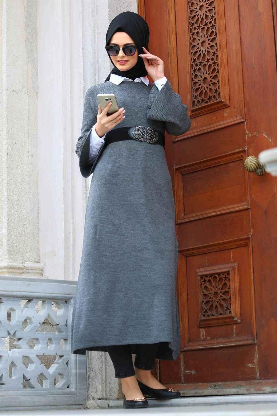 Neva Style Volan Kol Tesettür Triko Elbise Modelleri