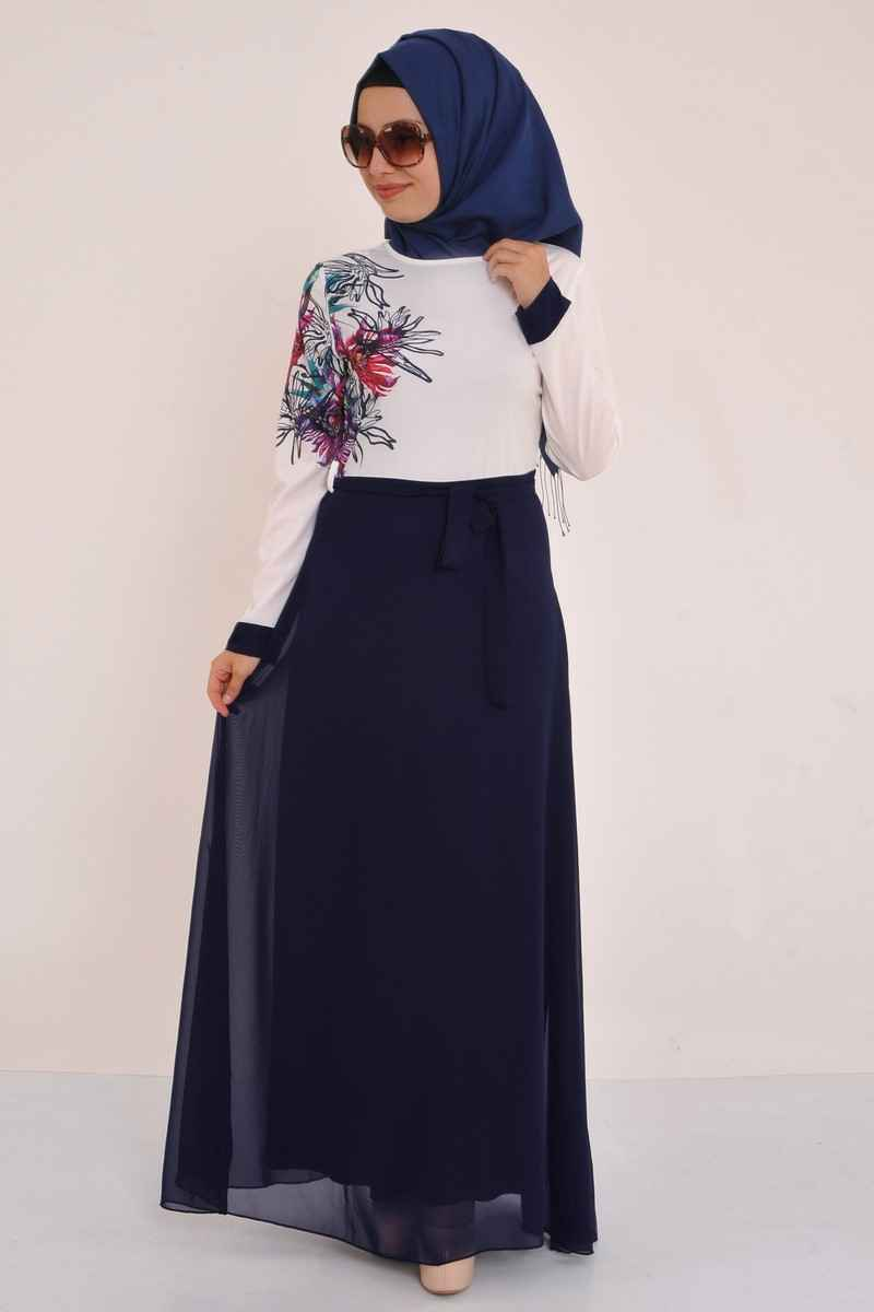İki Renkli Tesettür Şifon Elbise Modelleri