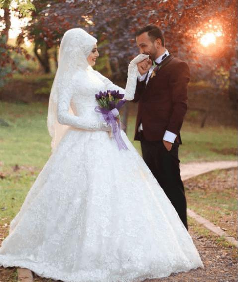 2018 Tesettür Prenses Dantelli Gelinlik Modelleri