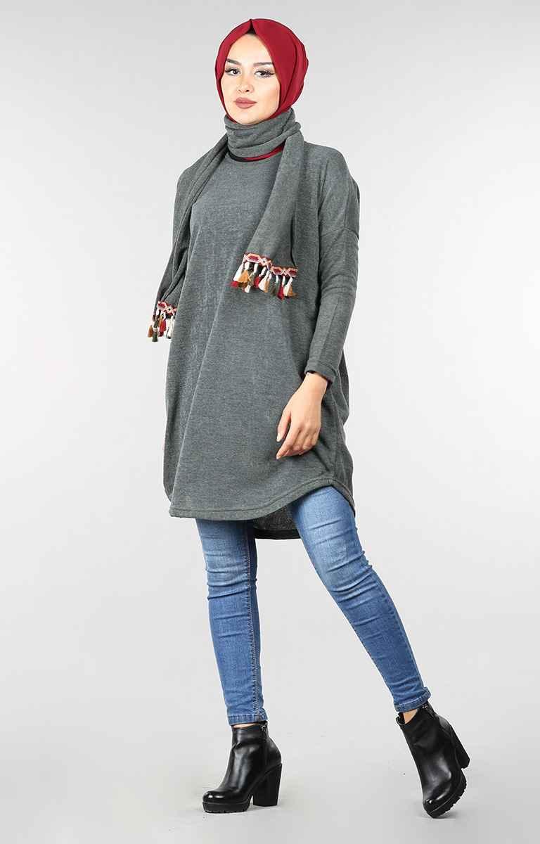 Atkılı Tesettür Kışlık Tunik Modelleri