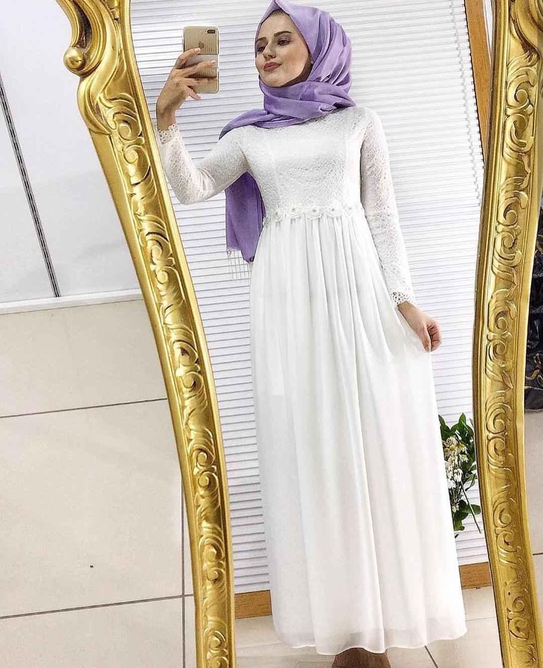 Dantelli Tesettür Şifon Elbise Modelleri