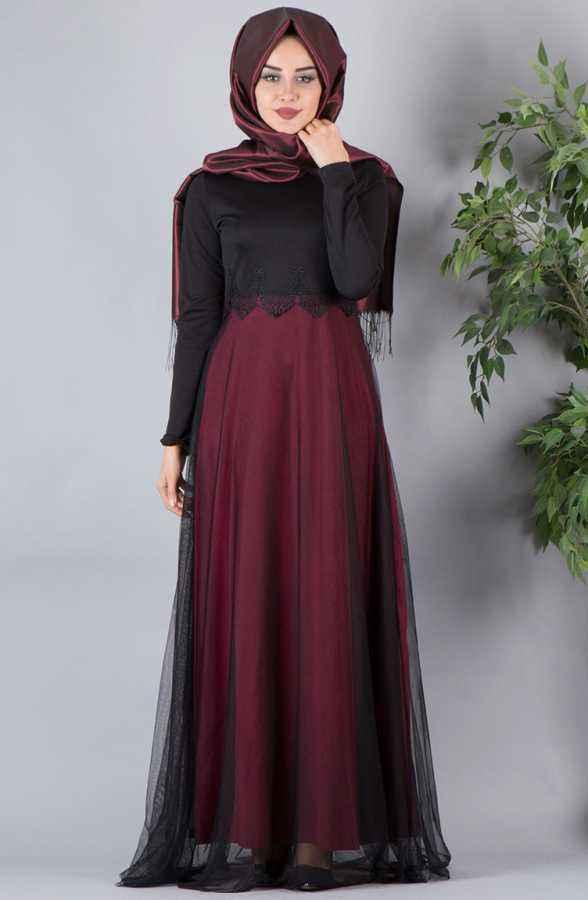 6346623e15878 Dantelli Tesettür Abiye Elbise Modelleri - Moda Tesettür Giyim