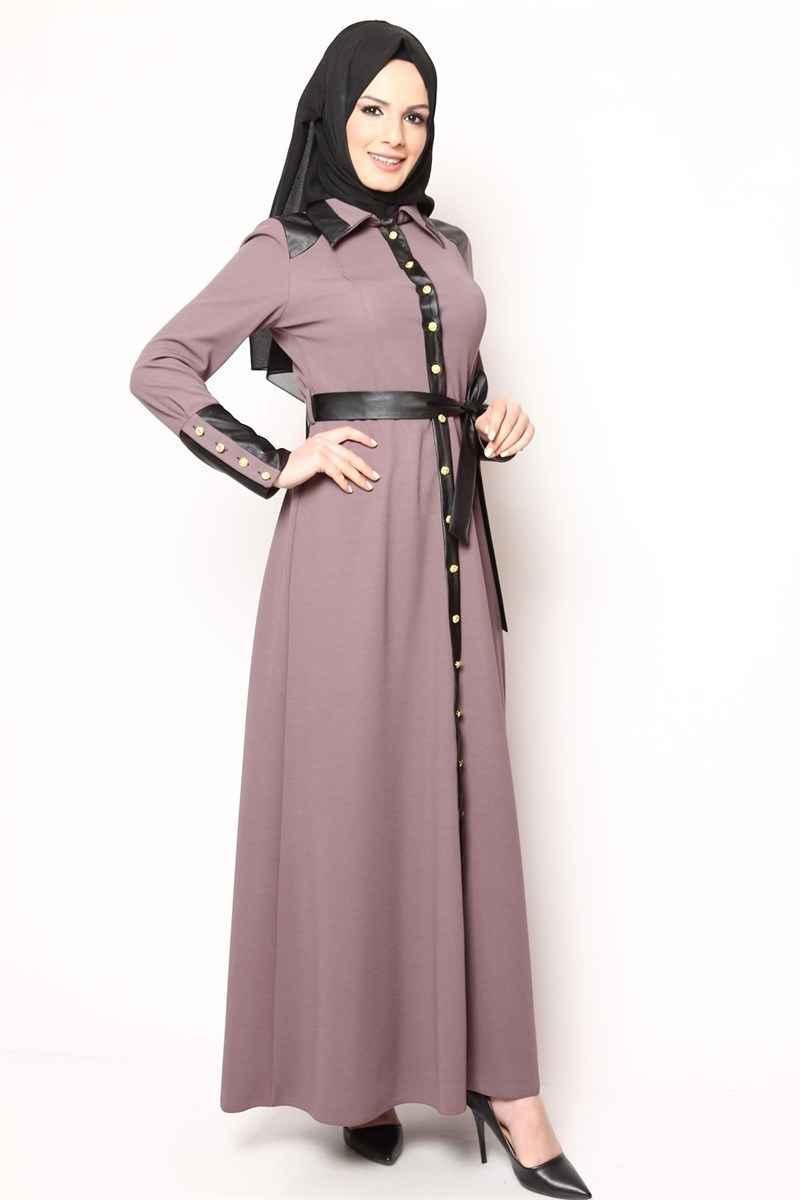 Deri Detaylı Tesettür Elbise Modelleri