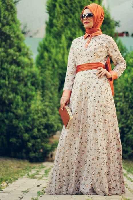 En Şık Tesettür Şifon Elbise Modelleri