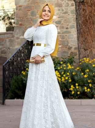 En Şık Tesettür Dantelli Elbise Modelleri