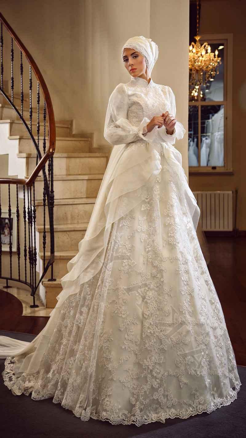 En Güzel Tesettür Prenses Gelinlik Modelleri