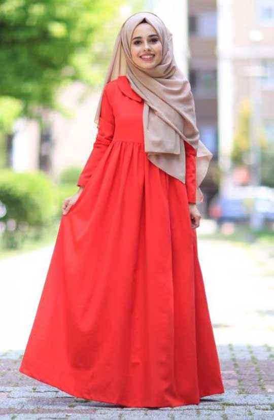 En Güzel Tesettür Robalı Elbise Modelleri