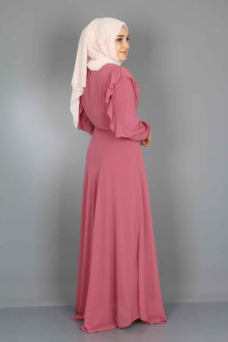 Fırfırlı Tesettür Şifon Elbise Modelleri