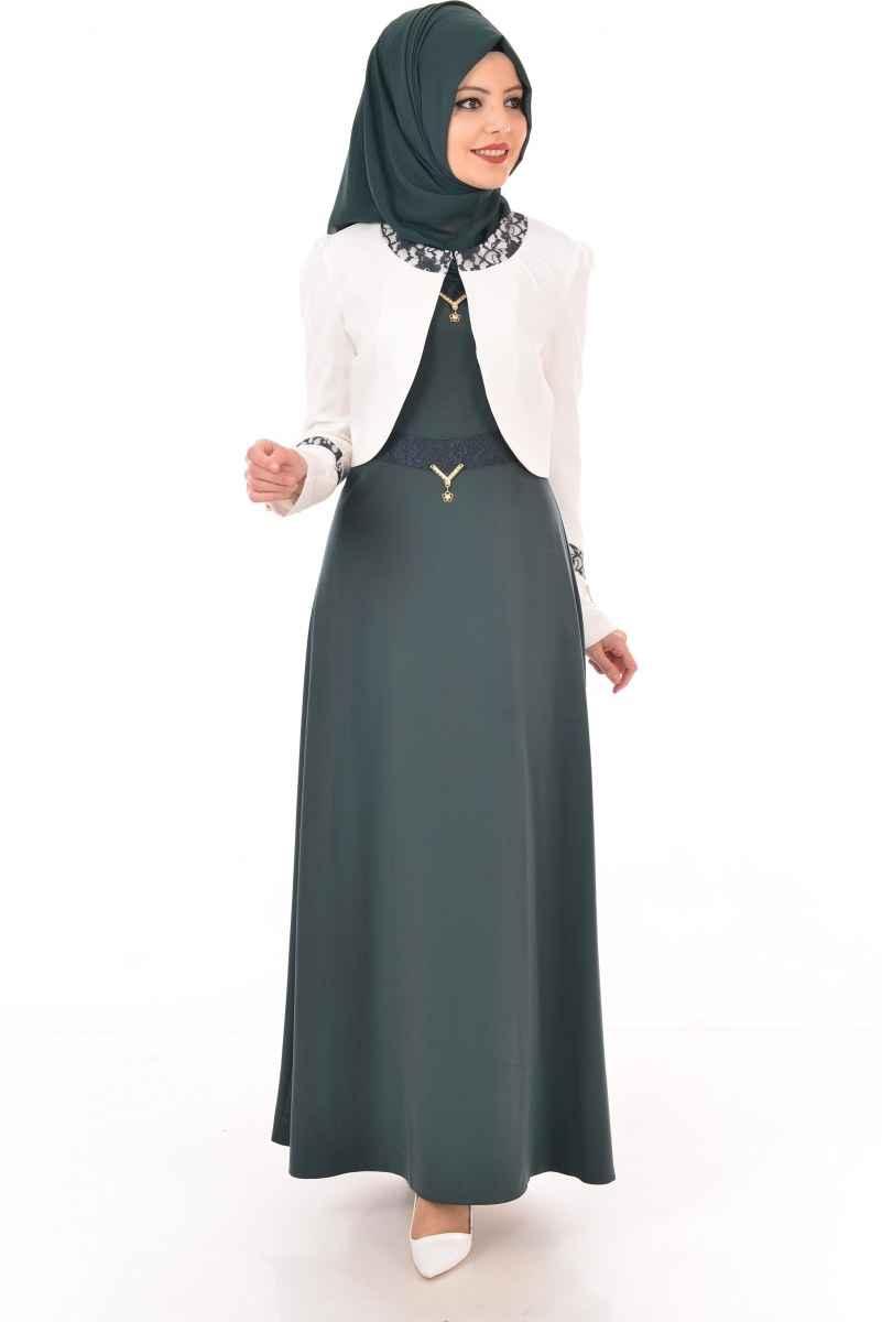 Modamerve Şık Tesettür Beyaz Bolero Modelleri
