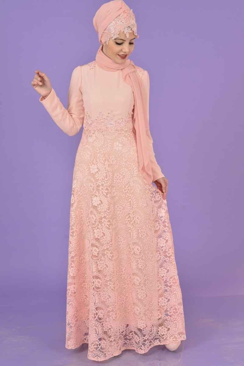 Modamerve Tesettür Dantelli Elbise Modelleri