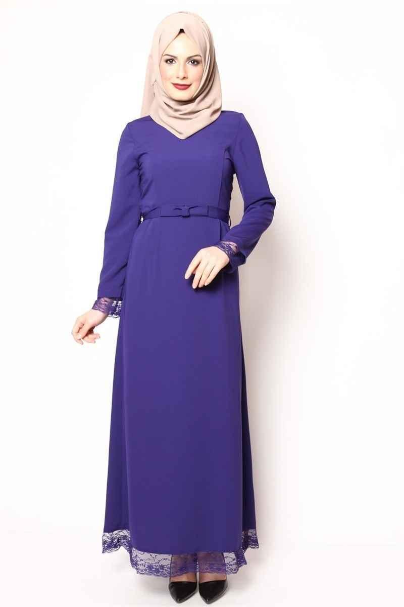 Modamerve Tesettür Ucu Dantelli Elbise Modelleri