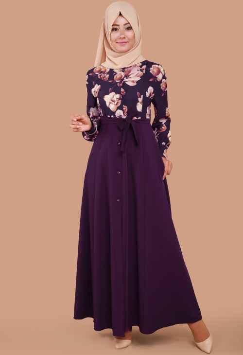 Modaselvim Çiçekli Tesettür Elbise Modelleri