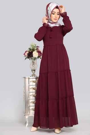 Modaselvim Fırfırlı Tesettür Şifon Elbise Modelleri