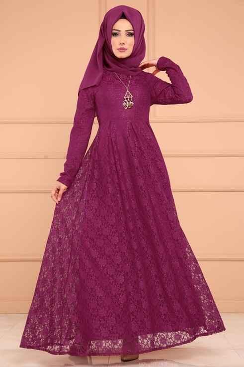Modaselvim Güpürlü Tesettür Abiye Elbise Modelleri