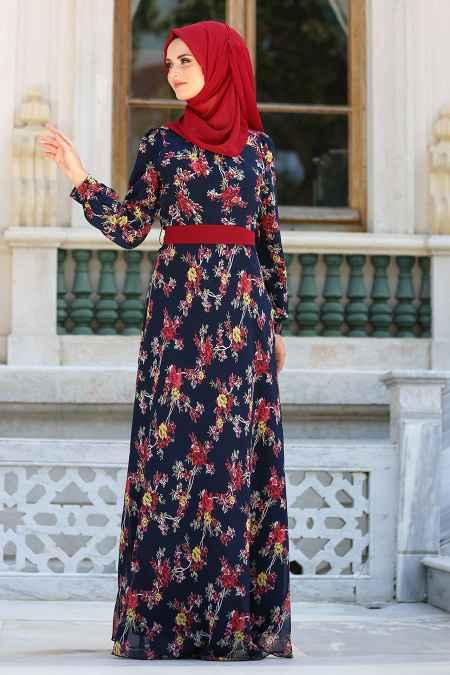 Neva Style Çiçek Motifli Tesettür Şifon Elbise Modelleri