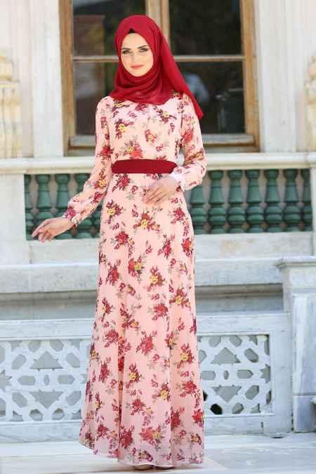 Neva Style Tesettür Somon Şifon Elbise Modelleri