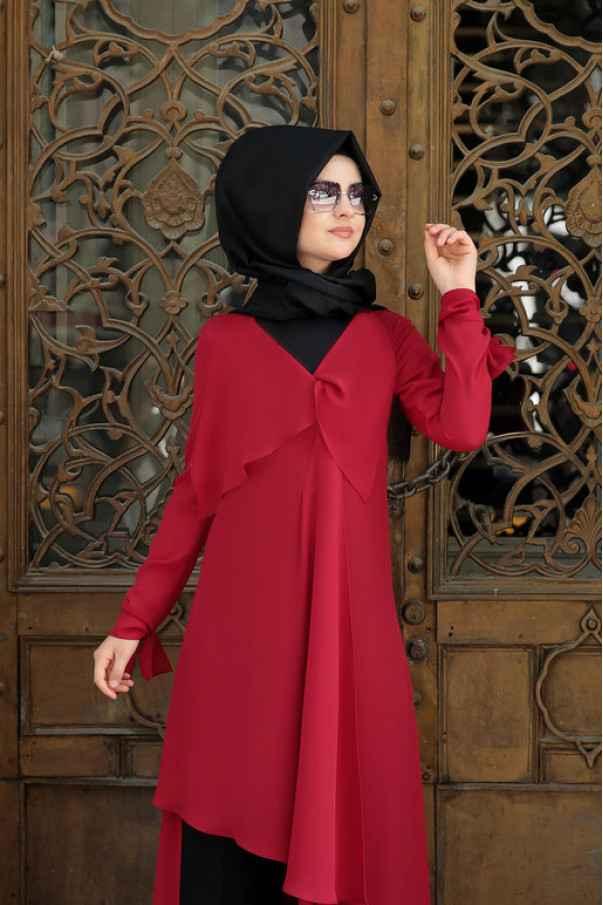 Pınar Şems Bordo Tunik Modelleri