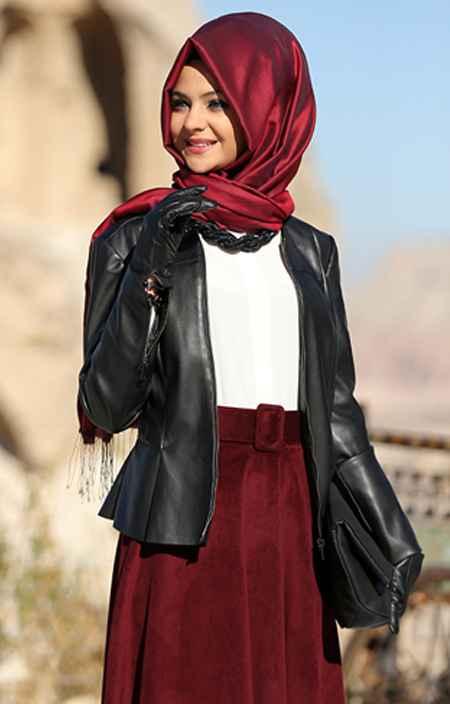 Pınar Şems Tesettür Deri Ceket Modelleri